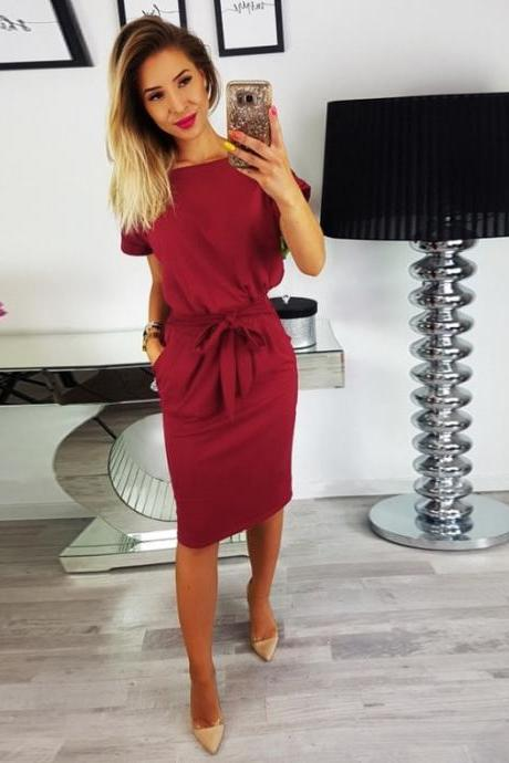 Women Slim Bodycon Pencil Dress Short Sleeve Belted Pockets Sheath Work Office Party Dress burgundy