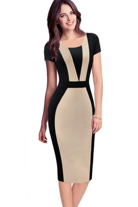 Women Bodycon Pencil Dress Patchwork Contrast Color Short Sleeve Sheath Work Office Party Dress apricot