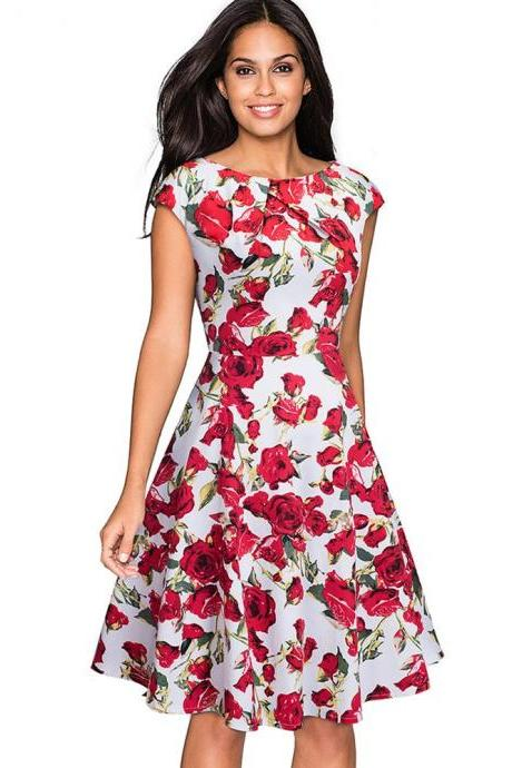 Elegant Women Summer Casual Dress Cap Sleeve Work Office Floral Party A-Line Swing Dress4#