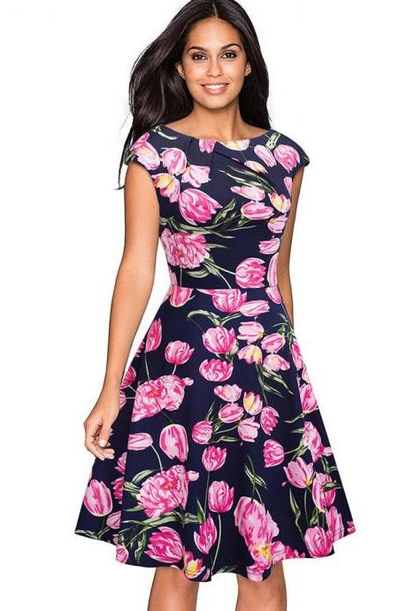 Elegant Women Summer Casual Dress Cap Sleeve Work Office Floral Party A-Line Swing Dress6#