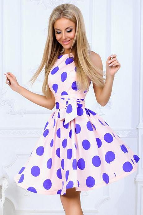 Vintage Polka Dot Printed Casual Dress O-Neck Summer Sleeveless A Line Party Dress pink