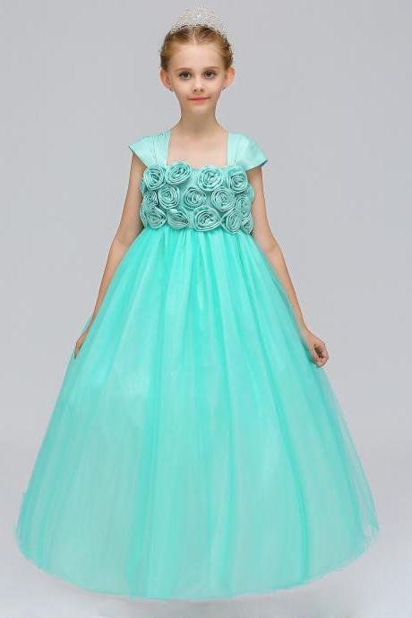 Princess Flower Girl Dress Cap Sleeve Long Formal Dance Party Tutu Gowns Children Clothes aqua