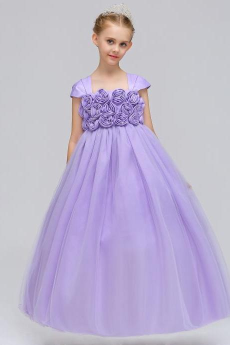 Princess Flower Girl Dress Cap Sleeve Long Formal Dance Party Tutu Gowns Children Clothes lilac