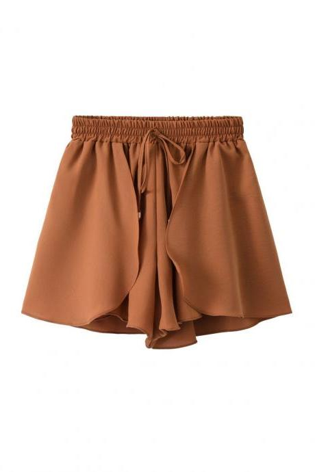 New Chiffon Wide Leg Shorts Drawstring High Waist Summer Solid Casual Loose Shorts brown