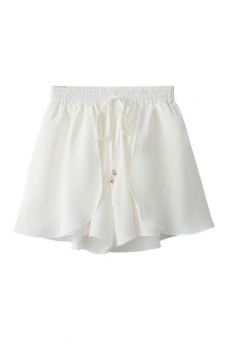 White Chiffon Elasticised High Waist Relaxed-Fit Shorts