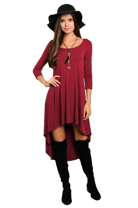 Comfortable Summer Casual Loose Dress Women Solid Long Sleeve O-Neck Asymmetrical Plus Size Dress burgundy