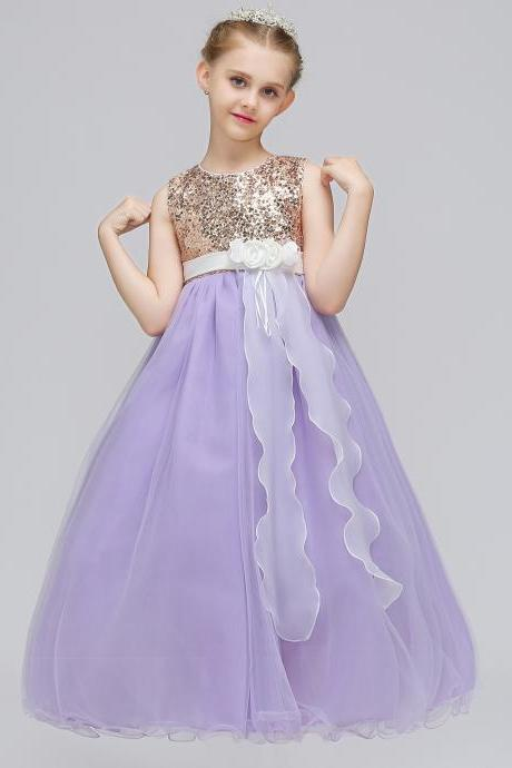 Sequined Long Flower Girl Dress Kids Teens Birthday Party Gowns Children Clothes lilac