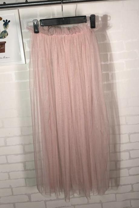 Summer Style Sheer Tulle Skirts A Line Tea Length High Waist Sexy Women See Through Skirt pink
