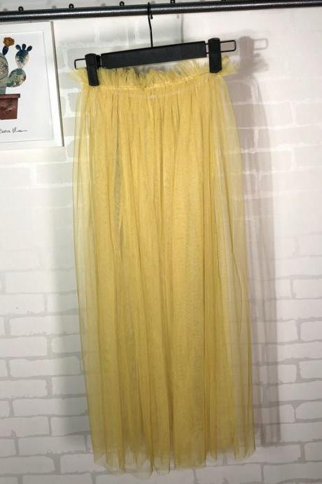 Summer Style Sheer Tulle Skirts A Line Tea Length High Waist Sexy Women See Through Skirt yellow