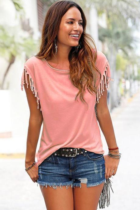 Women Tassel Casual T-Shirt Solid Color Basic Short Sleeve O-Neck Plus Size Summer Tops orange