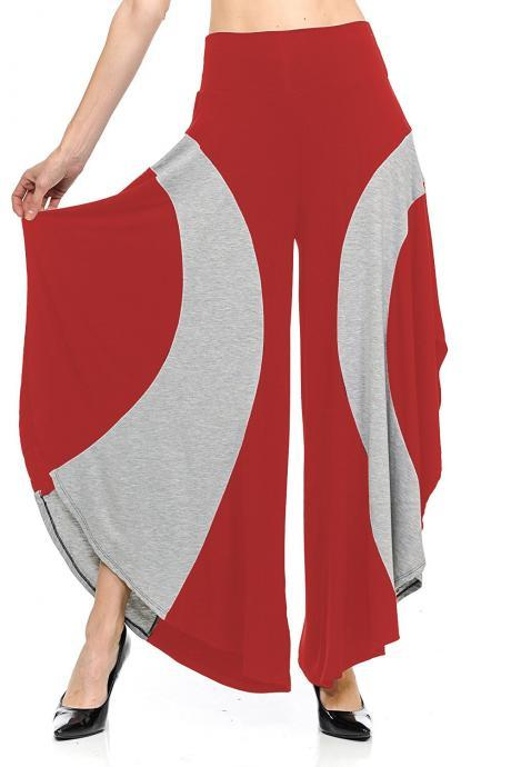 Women Asymmetrical Wide Leg Pants Summer High Waist Patchwork Casual Loose Streetwear Trousers red