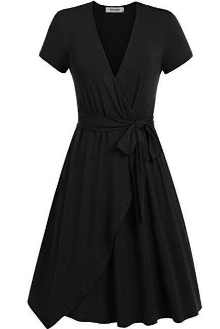 Women Summer Casual Dress V Neck Short Sleeve Belted A-line Wrap Midi Party Dress black