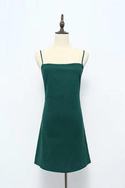 Women Summer Beach Dress Sexy Spaghetti Strap Sleeveless Tie Back Bow Casual Slim Mini Party Sundress hunter green