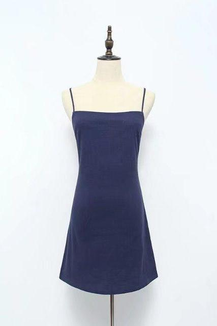 Women Summer Beach Dress Sexy Spaghetti Strap Sleeveless Tie Back Bow Casual Slim Mini Party Sundress navy blue
