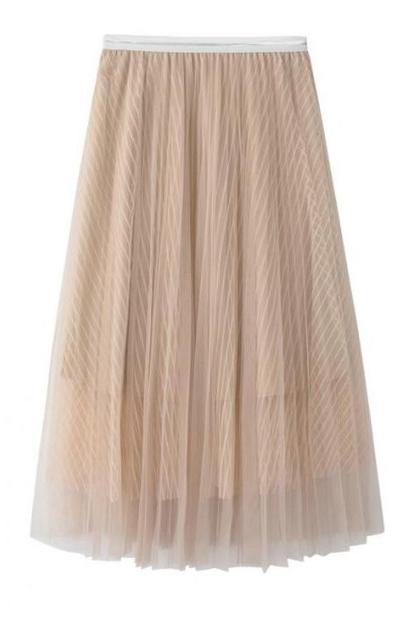 New Summer High Waist Midi A Line Skirt Women Striped Tulle Pleated Skirt apricot