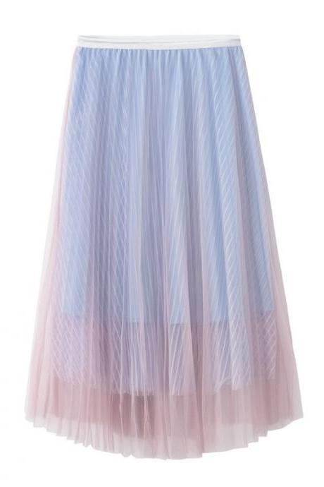 New Summer High Waist Midi A Line Skirt Women Striped Tulle Pleated Skirt pink+blue
