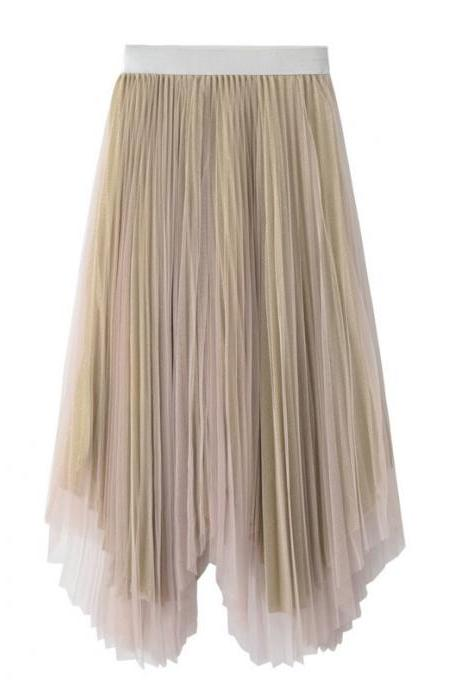 Women Midi Skirt Summer Asymmetrical High Waist Shiny A-Line Long Tulle Pleated Skirt apricot
