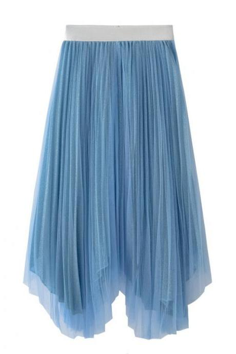 Women Midi Skirt Summer Asymmetrical High Waist Shiny A-Line Long Tulle Pleated Skirt blue