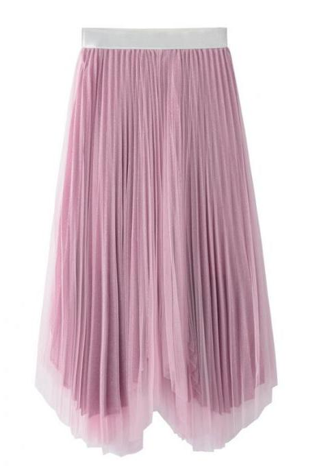 Women Midi Skirt Summer Asymmetrical High Waist Shiny A-Line Long Tulle Pleated Skirt pink