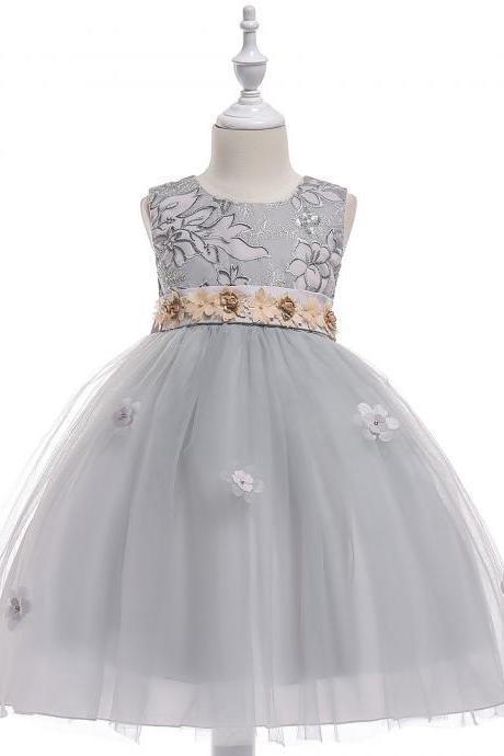 Embroidery Flower Girl Dress Belted Communion Party Tutu Gown Pastoral Children Clothes gray