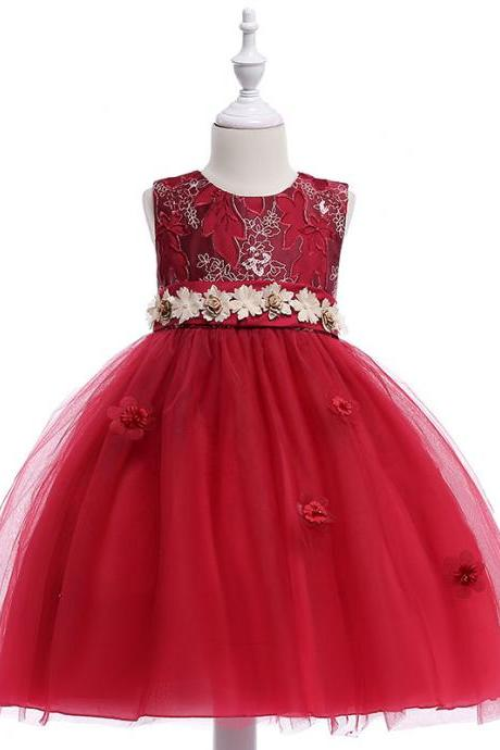 Embroidery Flower Girl Dress Belted Communion Party Tutu Gown Pastoral Children Clothes purplish red