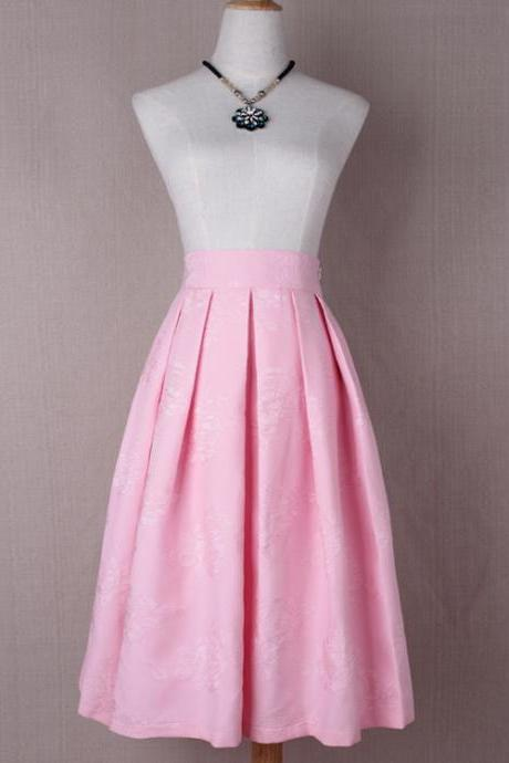 Women Floral Print A Line Skirt High Waist Tutu Pleated Zipper Pocket Midi Skater Skirt pink