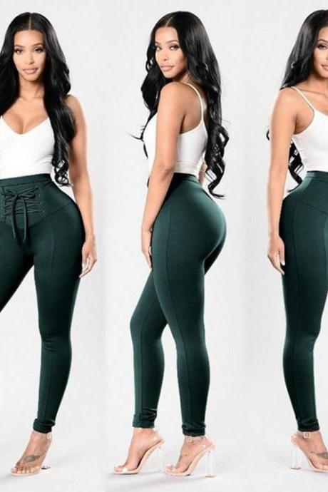 Women High Waist Skinny Legging Elastic Lace Up Fitness Sporting Bandage Pencil Pants hunter green