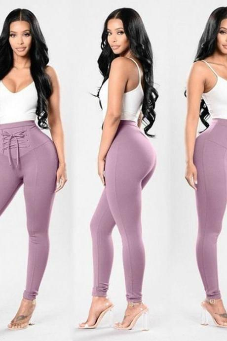 e9e3a94d4b8aa8 Women High Waist Skinny Legging Elastic Lace Up Fitness Sporting Bandage  Pencil Pants lilac