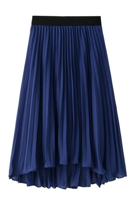 Bohemian Chiffon Skirt Women High Waist Solid Summer Beach Pleated Midi Asymmetrical Skirt dark blue