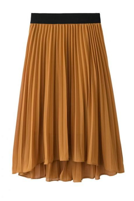 Bohemian Chiffon Skirt Women High Waist Solid Summer Beach Pleated Midi Asymmetrical Skirt dark yellow