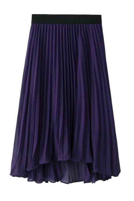 Bohemian Chiffon Skirt Women High Waist Solid Summer Beach Pleated Midi Asymmetrical Skirt purple