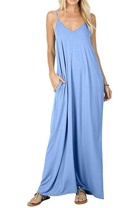 Light Blue Spaghetti Strap V-Neck Loose Casual Maxi Dress with Pockets