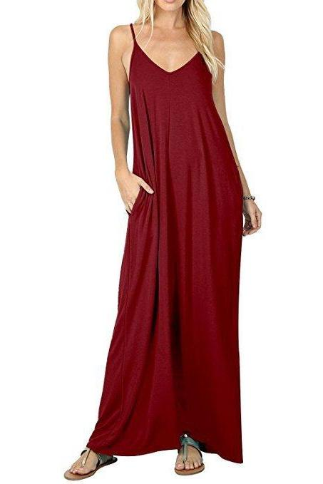 Women Maxi Dress Sexy V Neck Sleeveless Spaghetti Strap Pocket Solid Loose Casual Dress Long Summer Sundresses wine red
