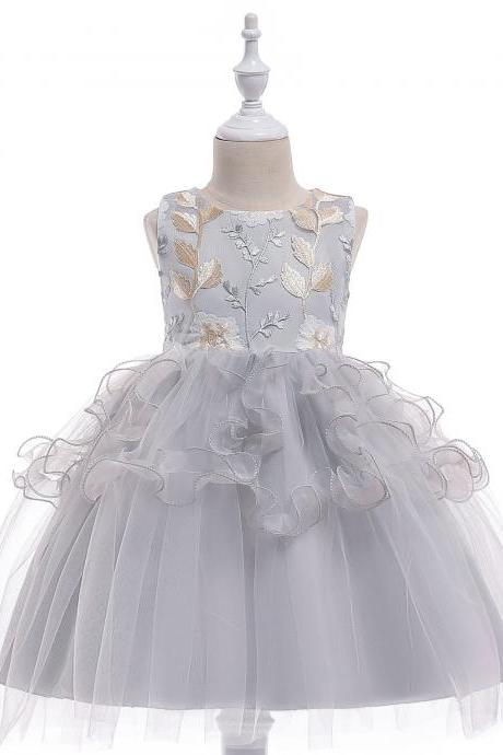 New Flower Girl Dress Ruffle Princess Kids Wedding Party Birthday Gown Children Clothes gray