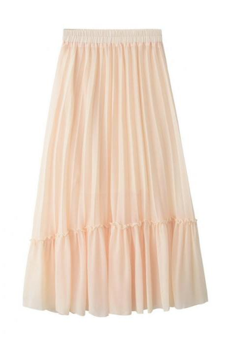 Women Chiffon Pleated Skirt High Waist Tutu Midi Summer Jupe A Line Skirt apricot