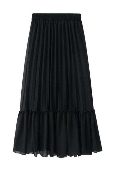 Women Chiffon Pleated Skirt High Waist Tutu Midi Summer Jupe A Line Skirt black