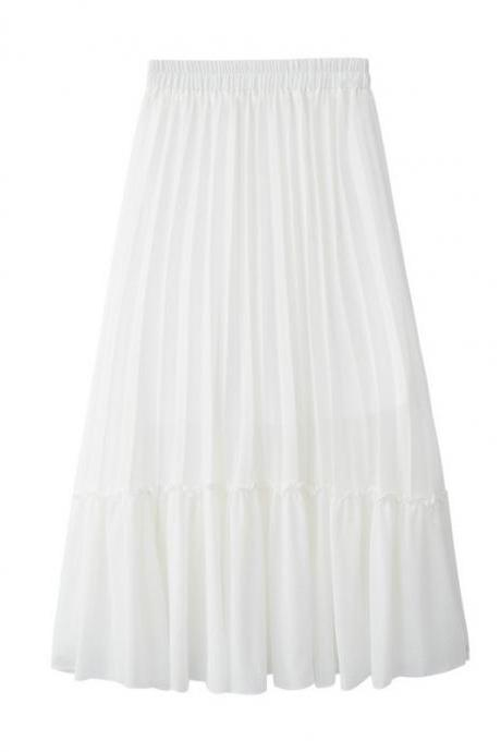 Women Chiffon Pleated Skirt High Waist Tutu Midi Summer Jupe A Line Skirt off white
