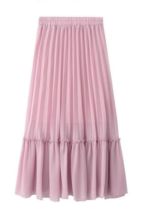Women Chiffon Pleated Skirt High Waist Tutu Midi Summer Jupe A Line Skirt pink