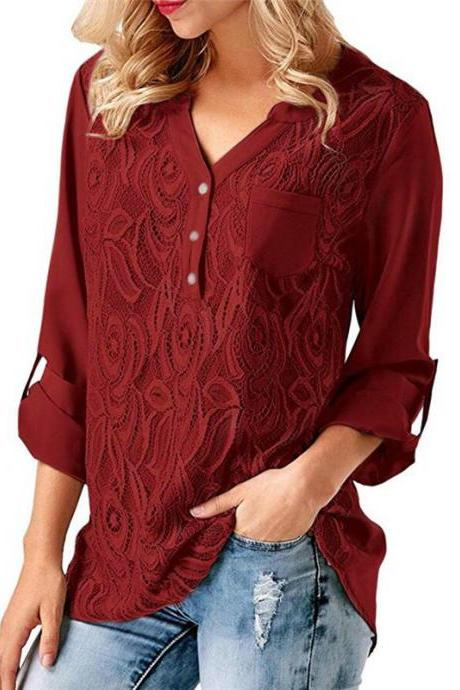 Women Tunic Chiffon Loose Blouse Floral Lace V Neck Long Sleeve Work OL Ladies Top Shirts crimson