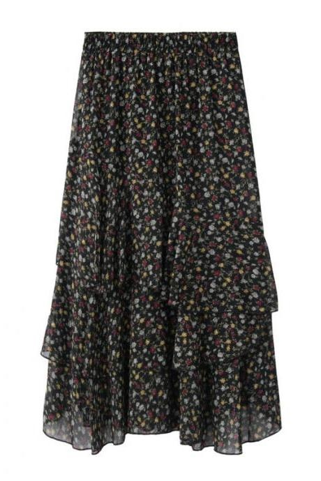 Women Asymmetrical Long Skirt Chiffon Summer High Waist Boho Floral Print Midi A Line Skirt black floral