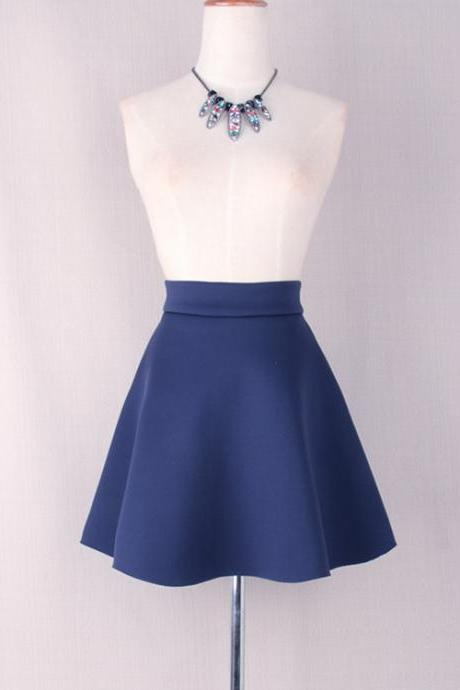 Navy Blue High Waisted Short Skater Skirt