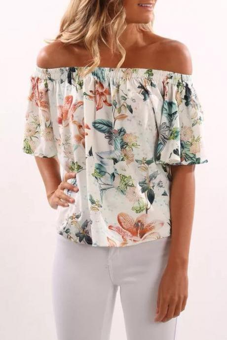 Summer Women Blouse Off the Shoulder Boho Floral Printed Casual Short Sleeve Top Shirt6#