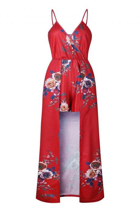 Summer Women Maxi Jumpsuit Spaghetti Strap V Neck Floral Print High Low Beach Long Rompers 0821-red