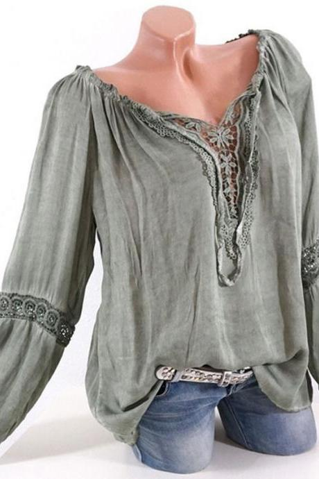 Women Casual Loose Blouse Hollow Lace Patchwork V Neck Long Sleeve Solid Shirt Plus Size Tops army green
