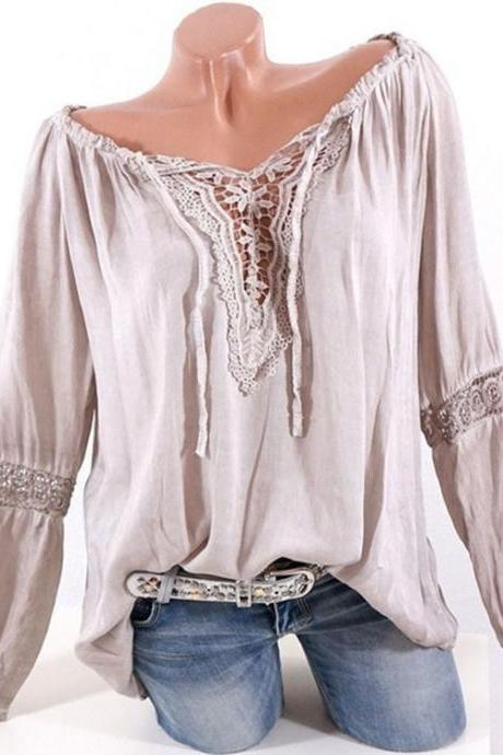 Women Casual Loose Blouse Hollow Lace Patchwork V Neck Long Sleeve Solid Shirt Plus Size Tops khaki
