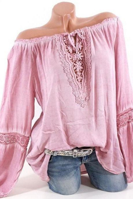 Women Casual Loose Blouse Hollow Lace Patchwork V Neck Long Sleeve Solid Shirt Plus Size Tops pink