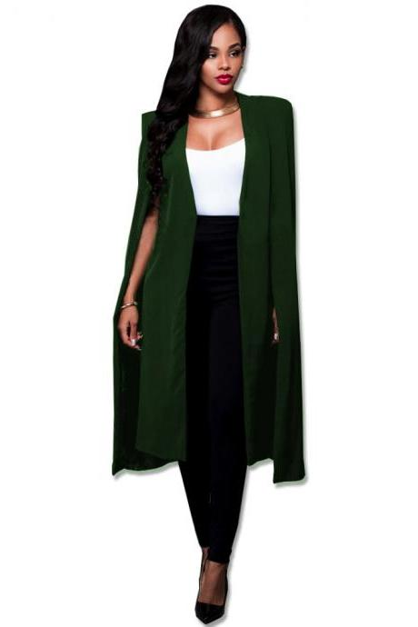 Women Long Cloak Blazer Coat Cape Cardigan Jacket Slim Office Simple OL Suit Coat Outwear army green