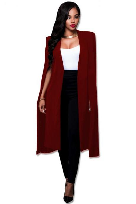 Women Long Cloak Blazer Coat Cape Cardigan Jacket Slim Office Simple OL Suit Coat Outwear burgundy