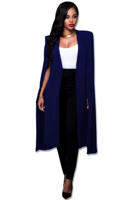 Women Long Cloak Blazer Coat Cape Cardigan Jacket Slim Office Simple OL Suit Coat Outwear royal blue
