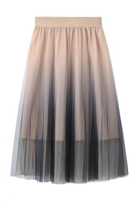 Sweet Gradient Color Tulle A-Line Midi Skirt High Waist Below Knee Tutu Skater Skirt apricot
